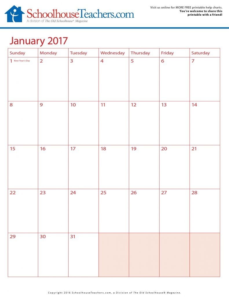 free printable calendars 2016/2017 schoolhouse teachers