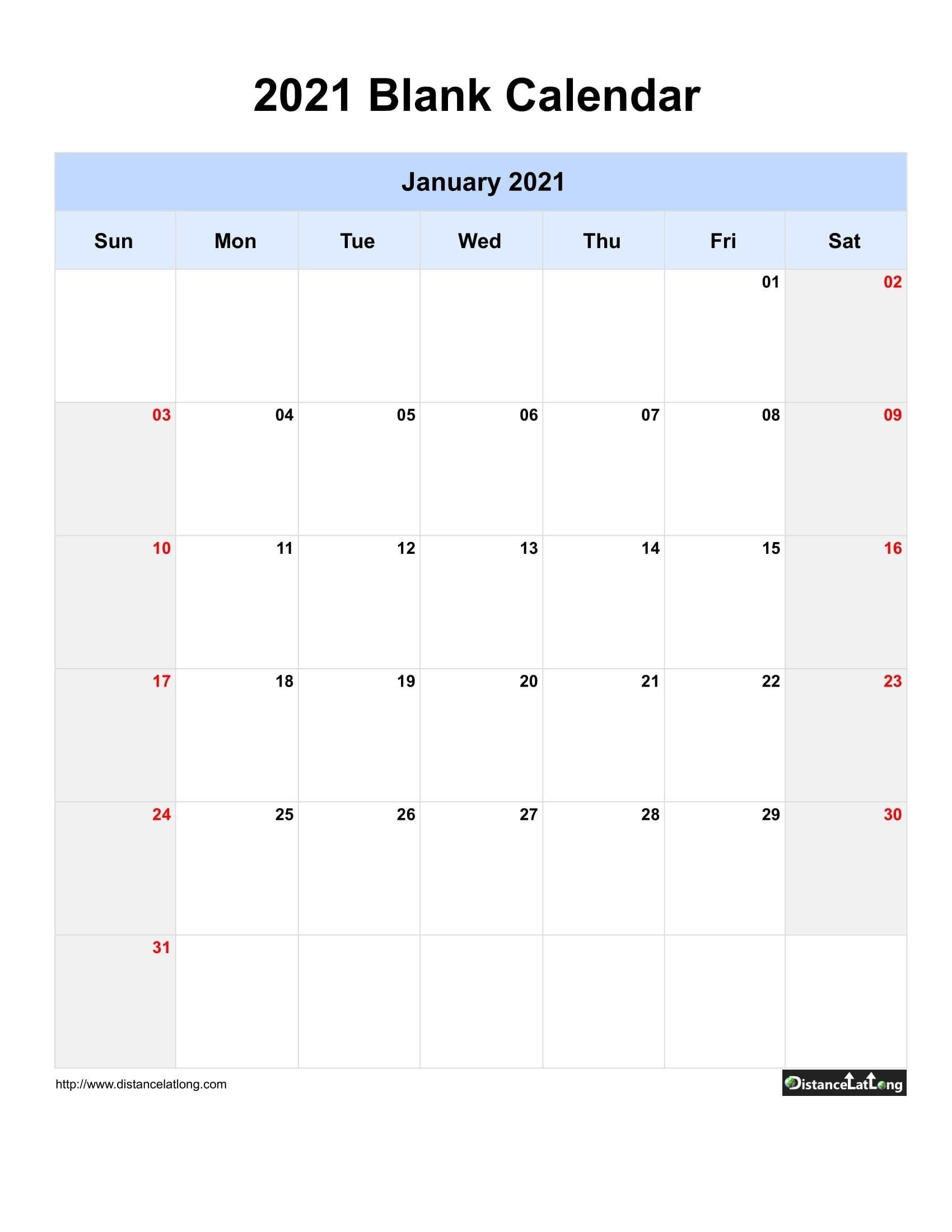 Free Printable Calendars 2021 Blanks Word Example