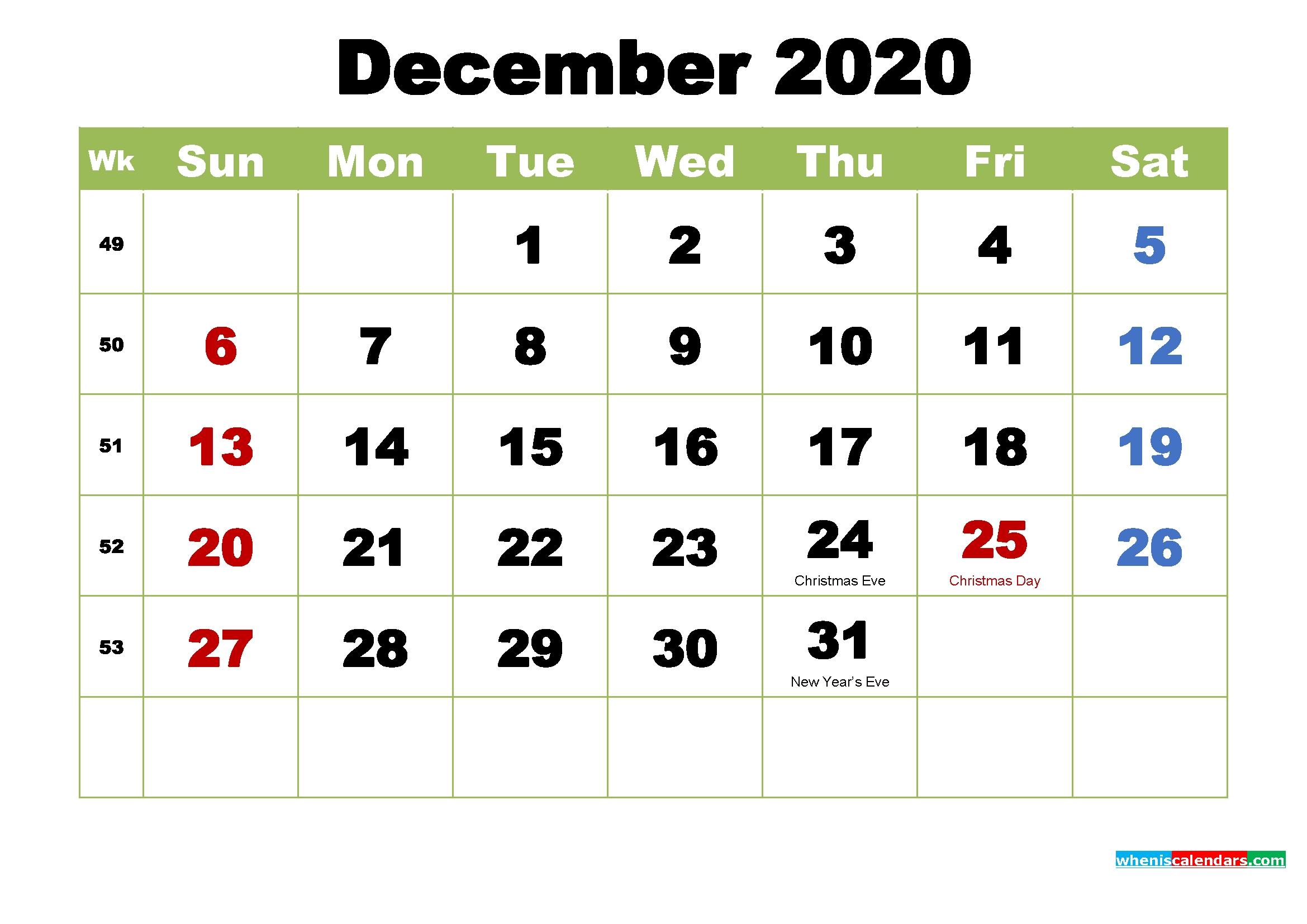 free printable december 2020 calendar with holidays free