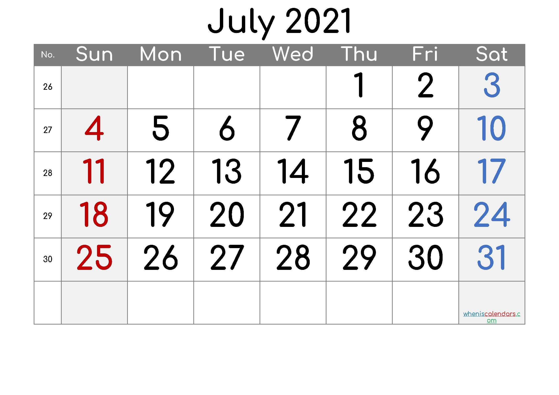 Free Printable July 2021 Calendar (premium)