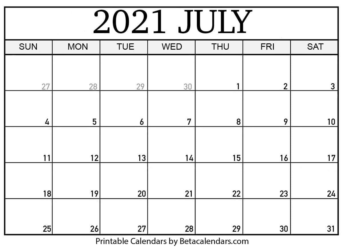 Free Printable July 2021 Calendar