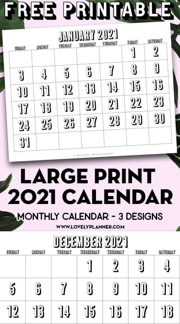 Free Printable Large Print 2021 Calendar 12 Month