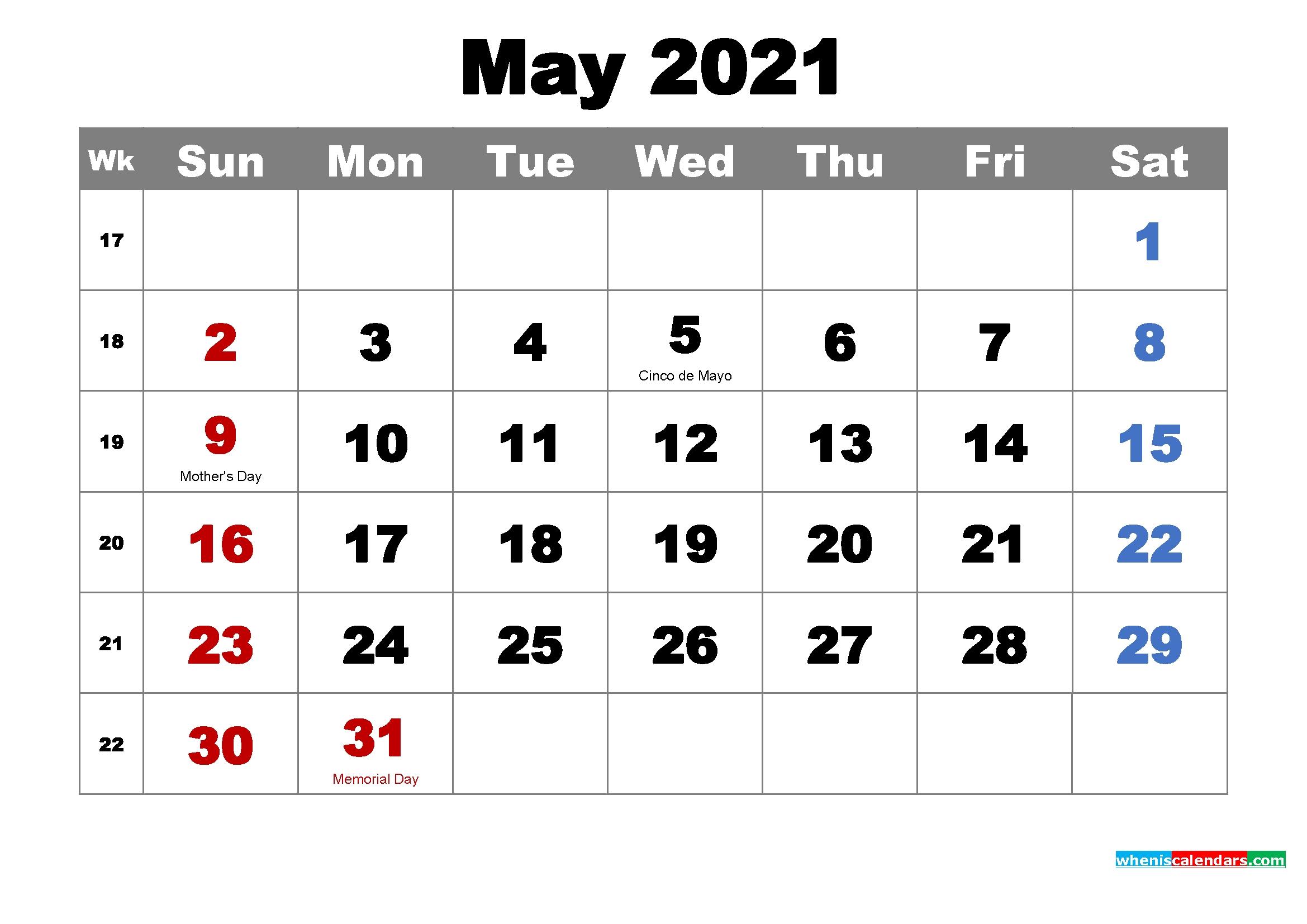 free printable may 2021 calendar with holidays as word, pdf
