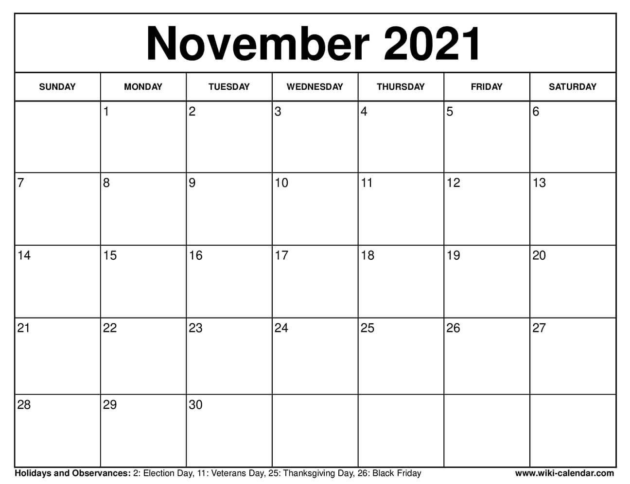 Free Printable November 2021 Calendars