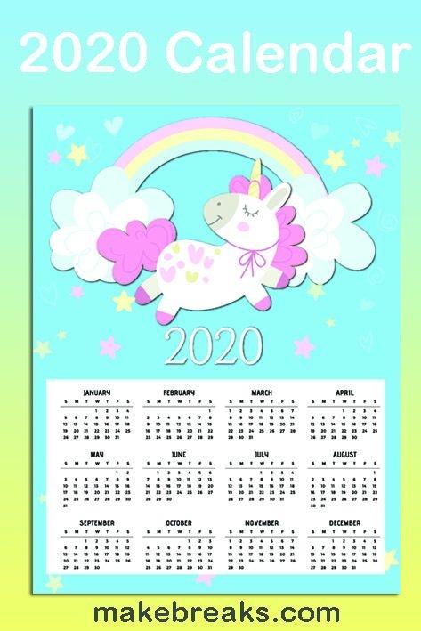 Free Printable Unicorn One Page 2020 Calendar 2 Make Breaks
