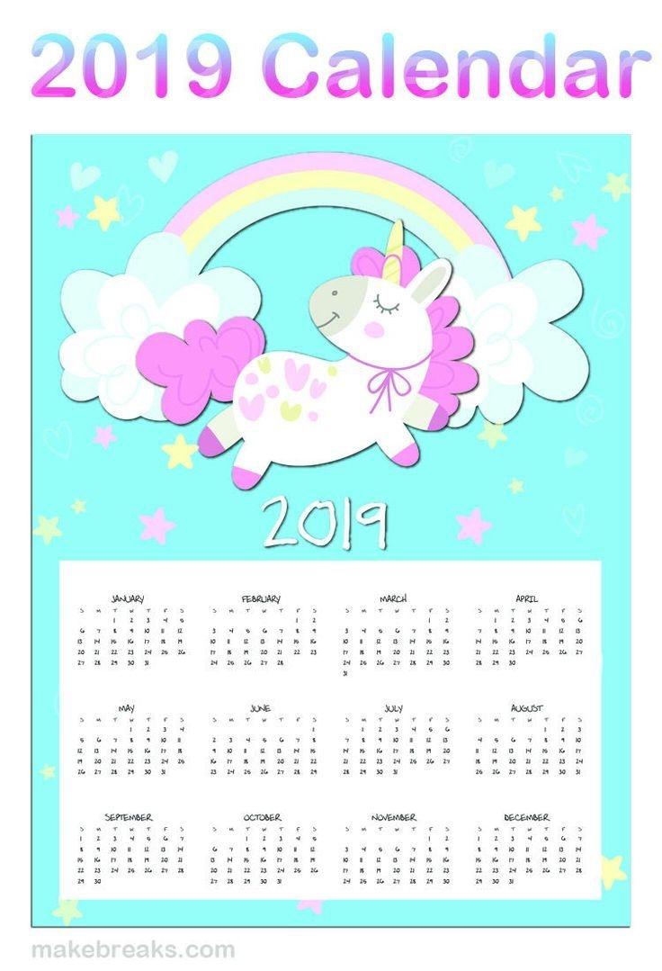 free printable unicorn one page 2020 calendar | decoracion