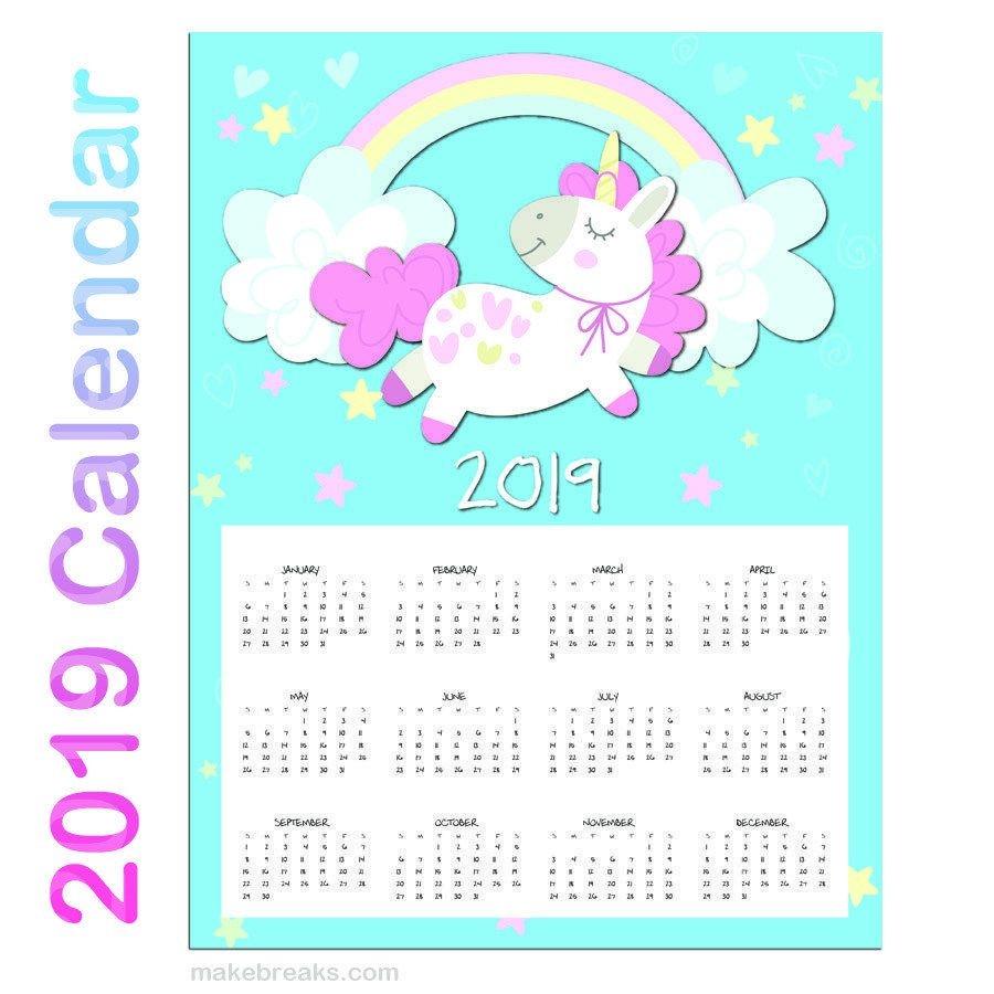 free printable unicorn one page 2020 calendar make