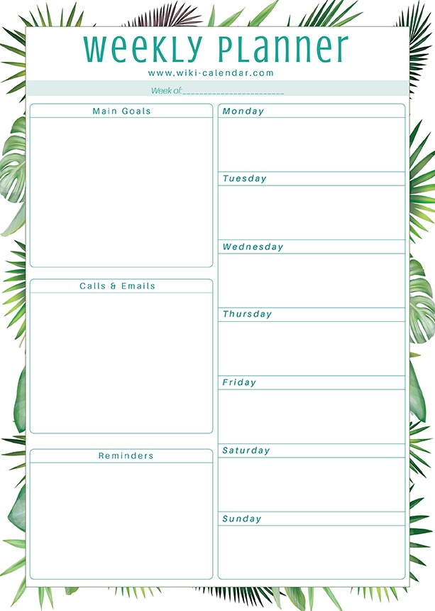 Free Printable Weekly Planner For 2021 Templates