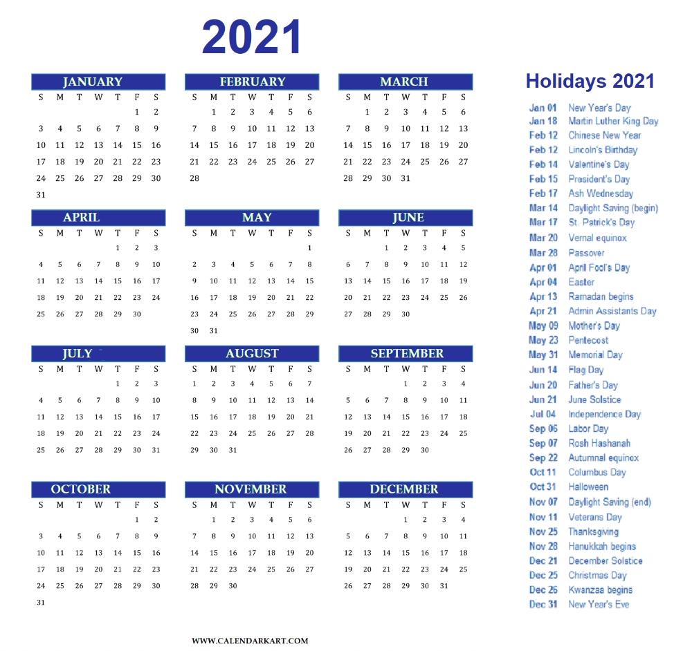 Free Printable Year At A Glance Calendar 2021