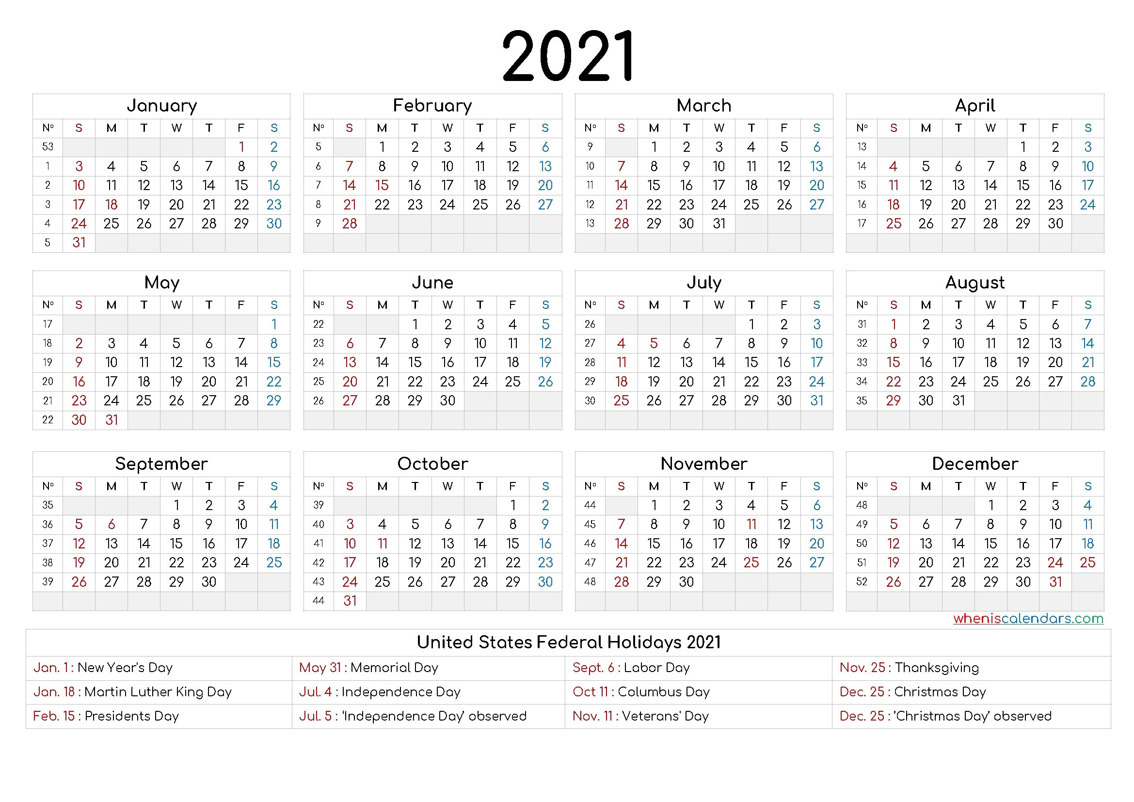 free printable yearly calendar 2021 and 2022 and further