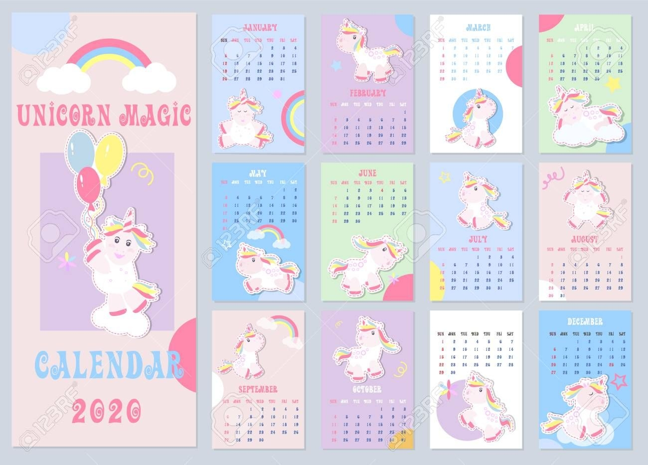 free unicorn calendar 2020 | calendar printables free