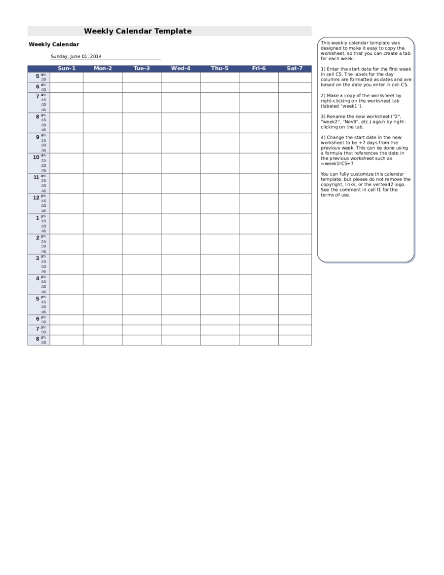 free weekly calander that you can edit : free calendar