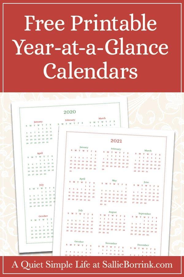 free year at a glance calendar printables {2020 & 2021