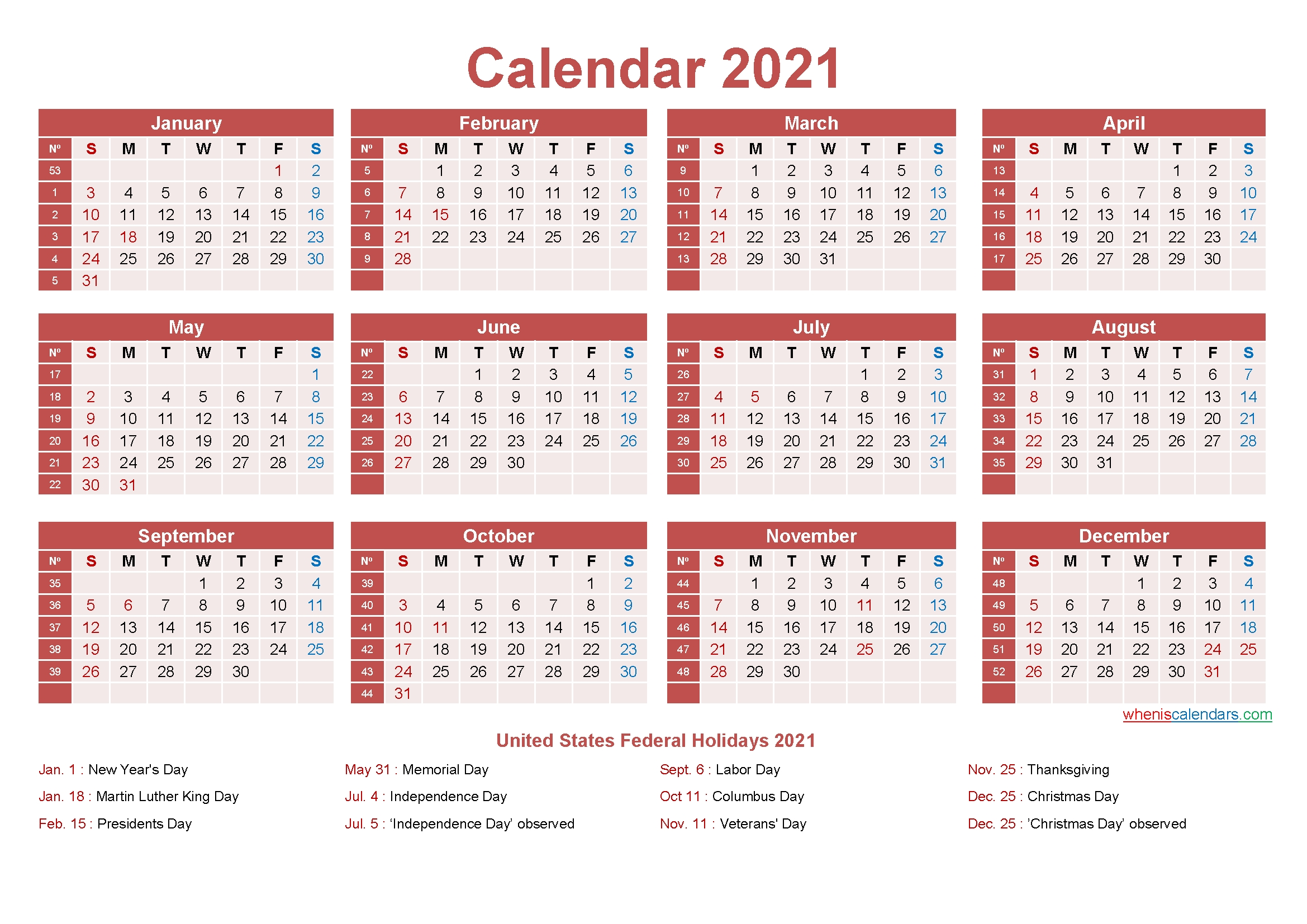 Free Yearly 2021 Calendar With Holidays Word, Pdf Free