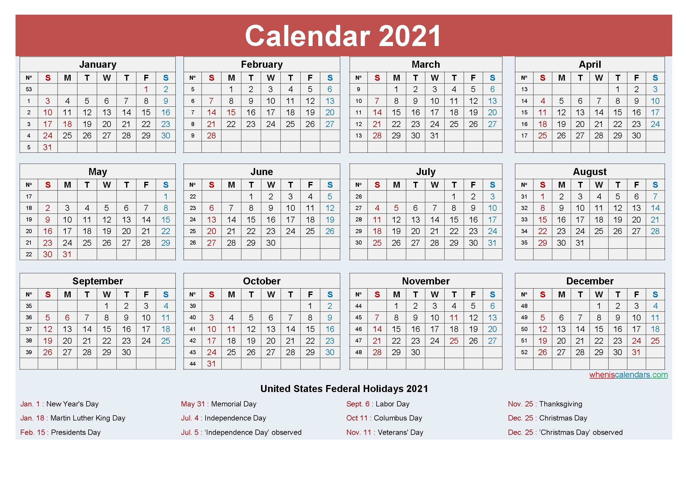 free yearly 2021 calendar with holidays word, pdf | free