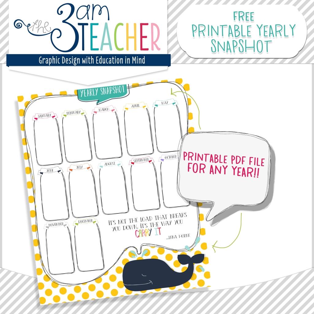 free yearly snapshot printable calendar   classroom