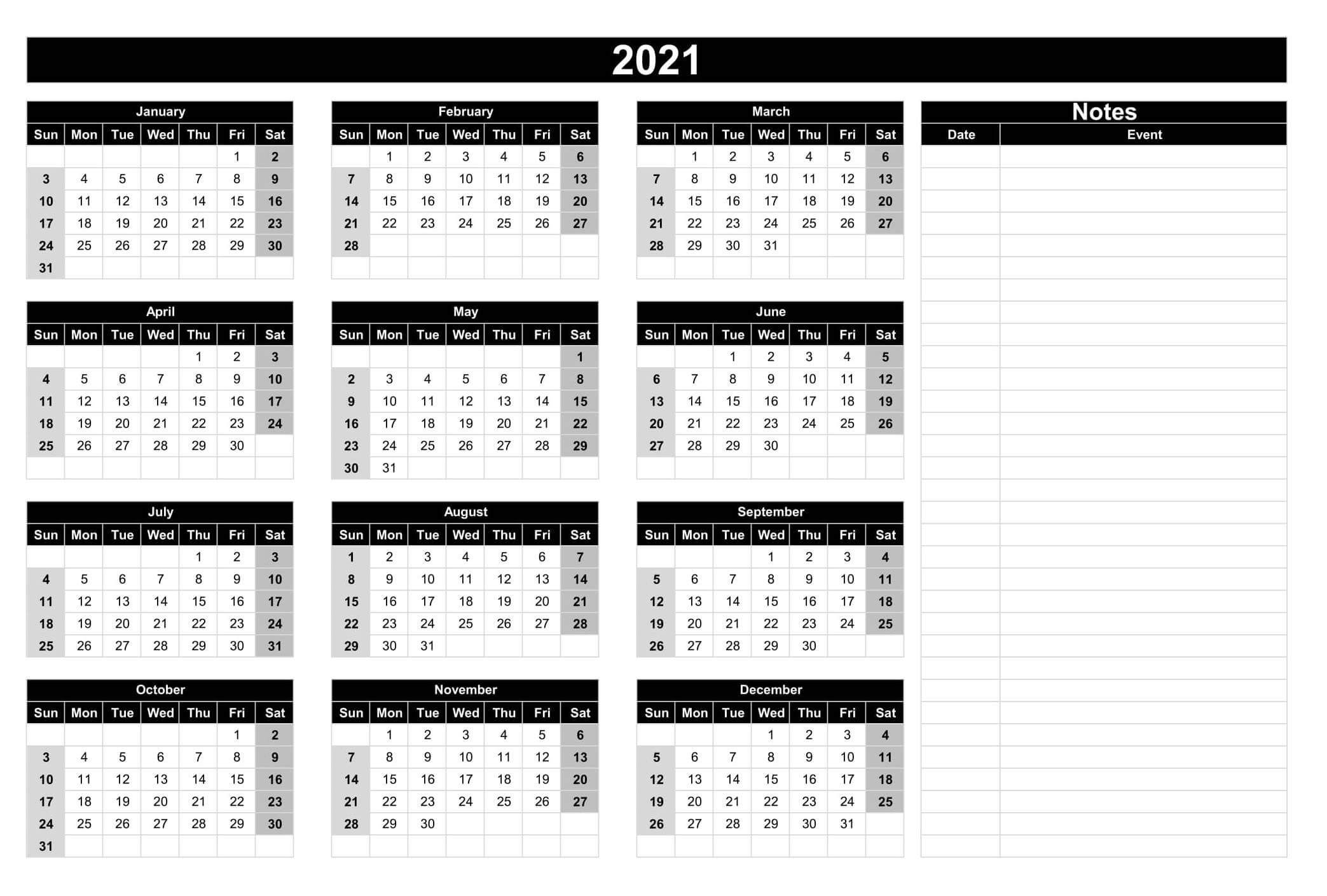 full year printable calendar 2021 with notes | free
