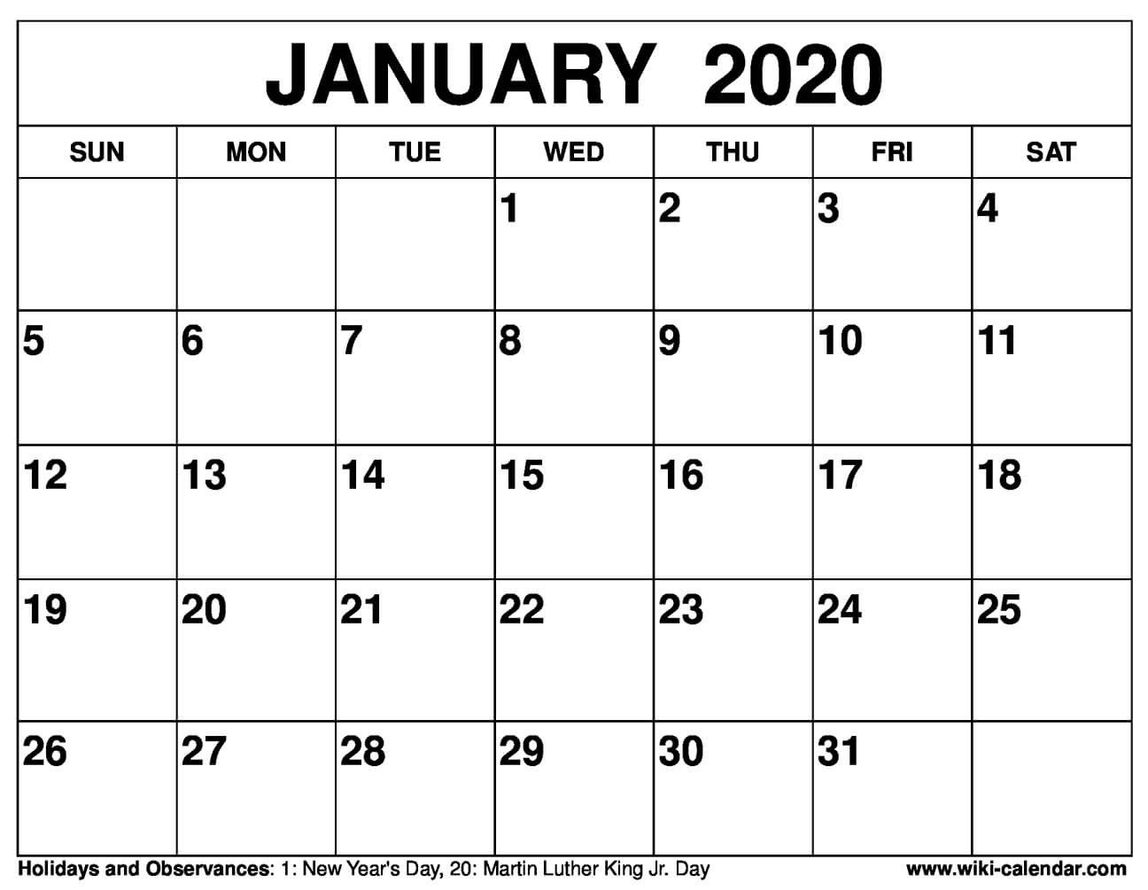 get 2020 calendar free printable from january to december