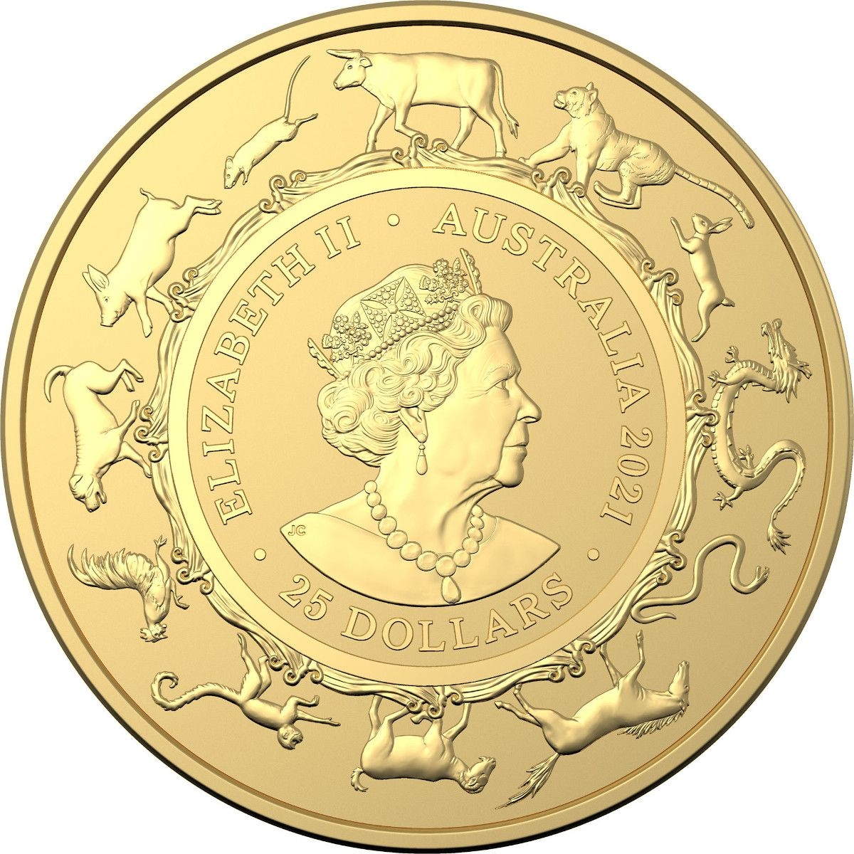 gold quarter ounce 2021 year of the ox (ram), coin from
