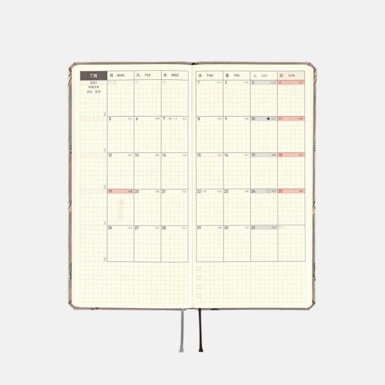 hobonichi techo 2021 weeks bow & tie: camp (wallet size