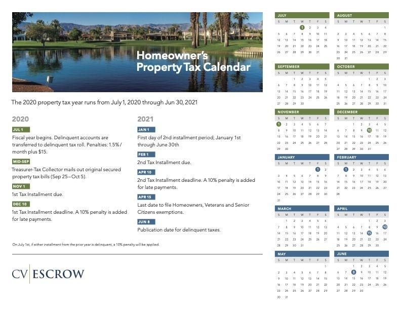 homeowner's 2020 2021 property tax calendar cv escrow
