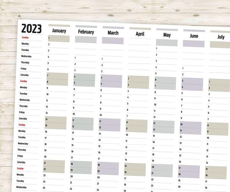 horizontal year wall planner 2021 2022 2023 204 & 2025 | etsy