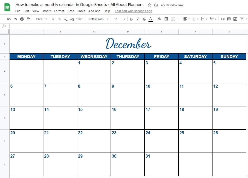 how to make a monthly calendar printable using google