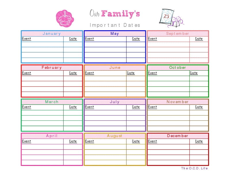 important dates printable (with images) | planner calendar
