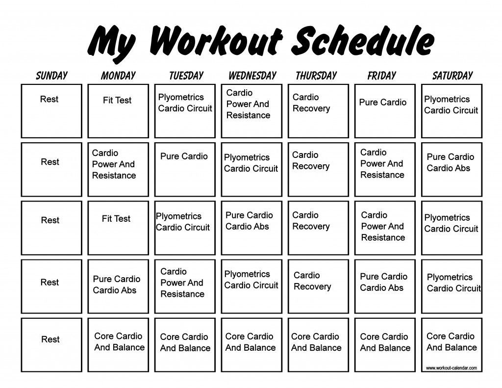 insanity month one printable | example calendar printable