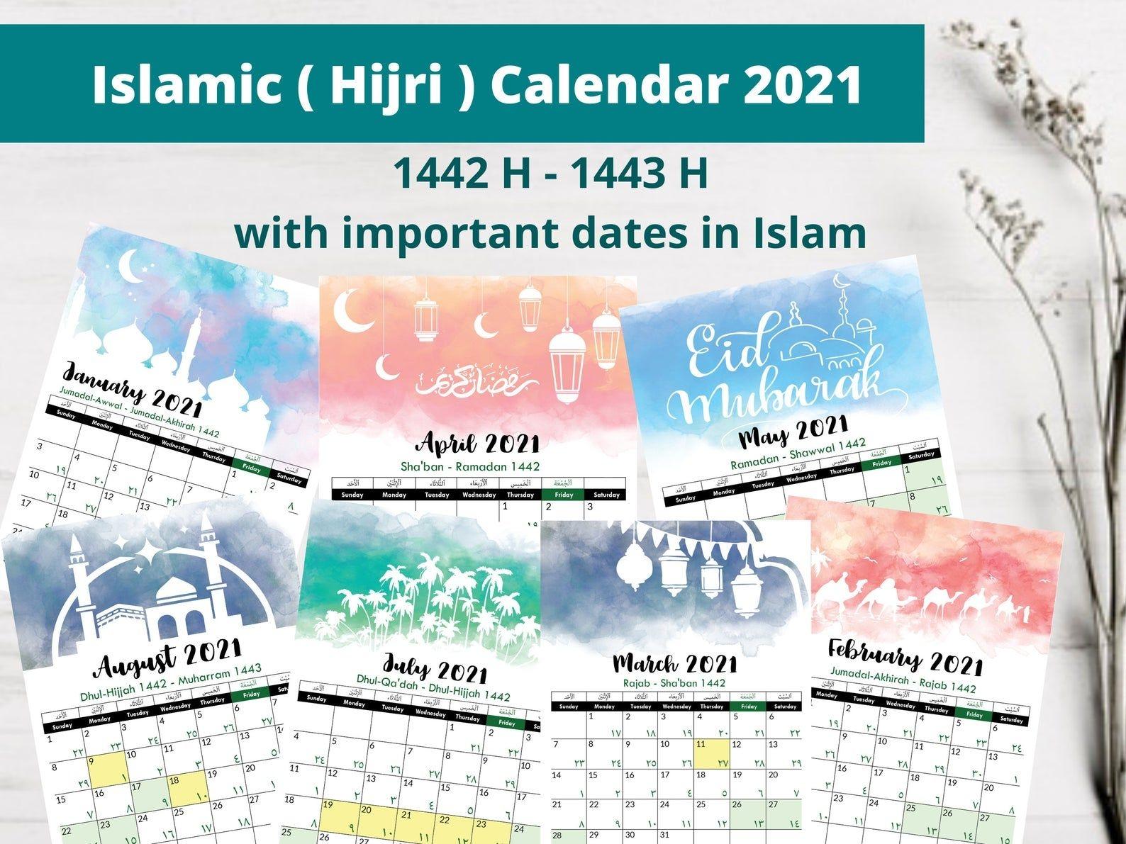 Islamic Hijri Calendar 2021 1442 H 1443 H | Etsy