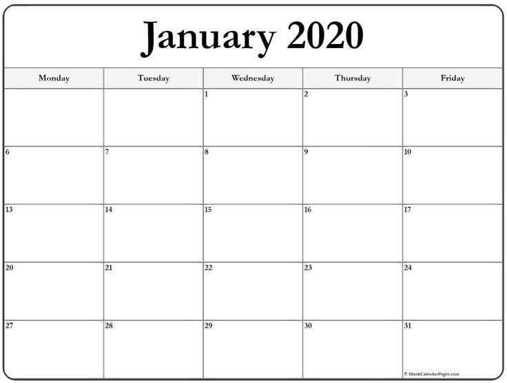January 2020 Monday Calendar | Monday To Friday | Calendar
