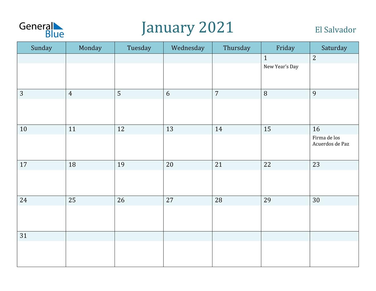 January 2021 Calendar El Salvador