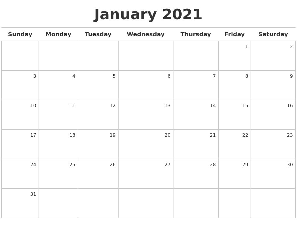 January 2021 Calendar Maker