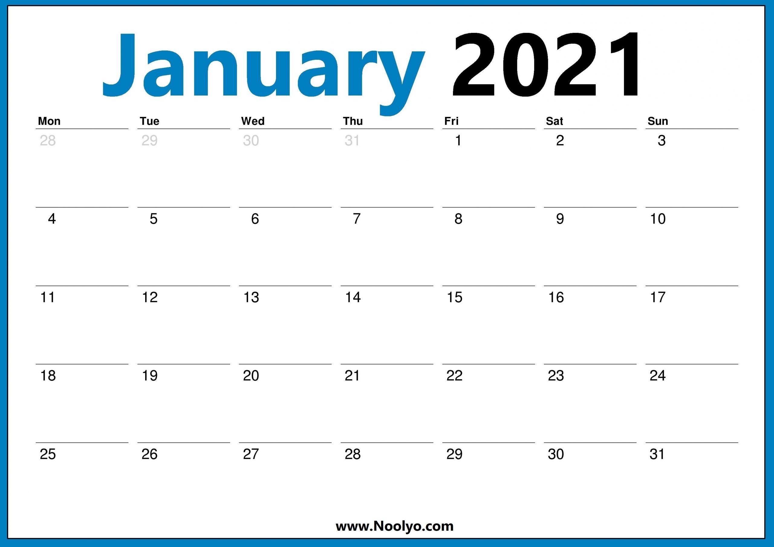 January 2021 Calendar Monday Start Noolyo