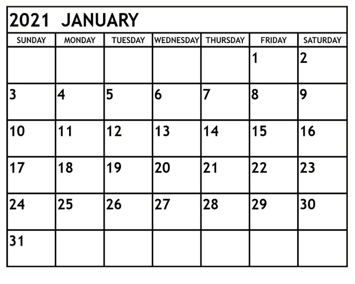 january 2021 calendar printable free monthly free
