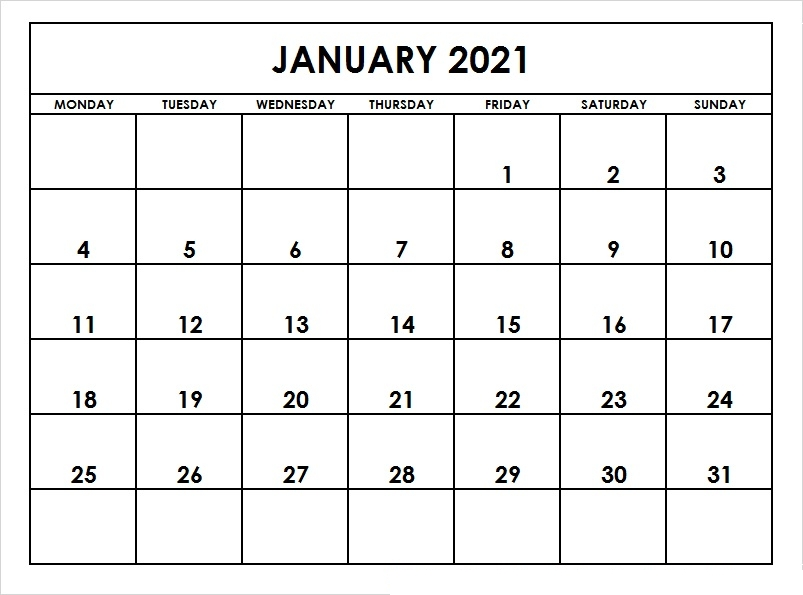 January 2021 Calendar Printable Pdf Printable Calendar