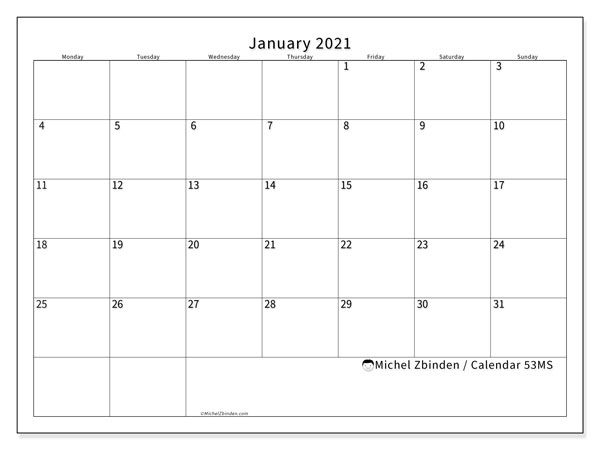 "January 2021 Calendars ""monday Sunday"" Michel Zbinden En"