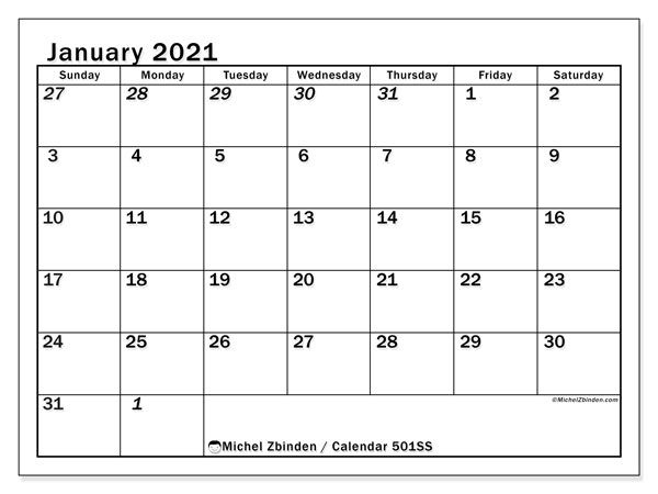 "January 2021 Calendars ""sunday Saturday"" Michel Zbinden En"