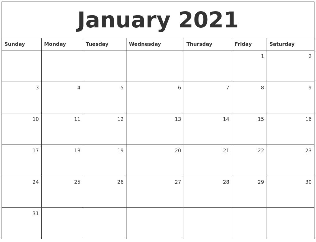January 2021 Monthly Calendar