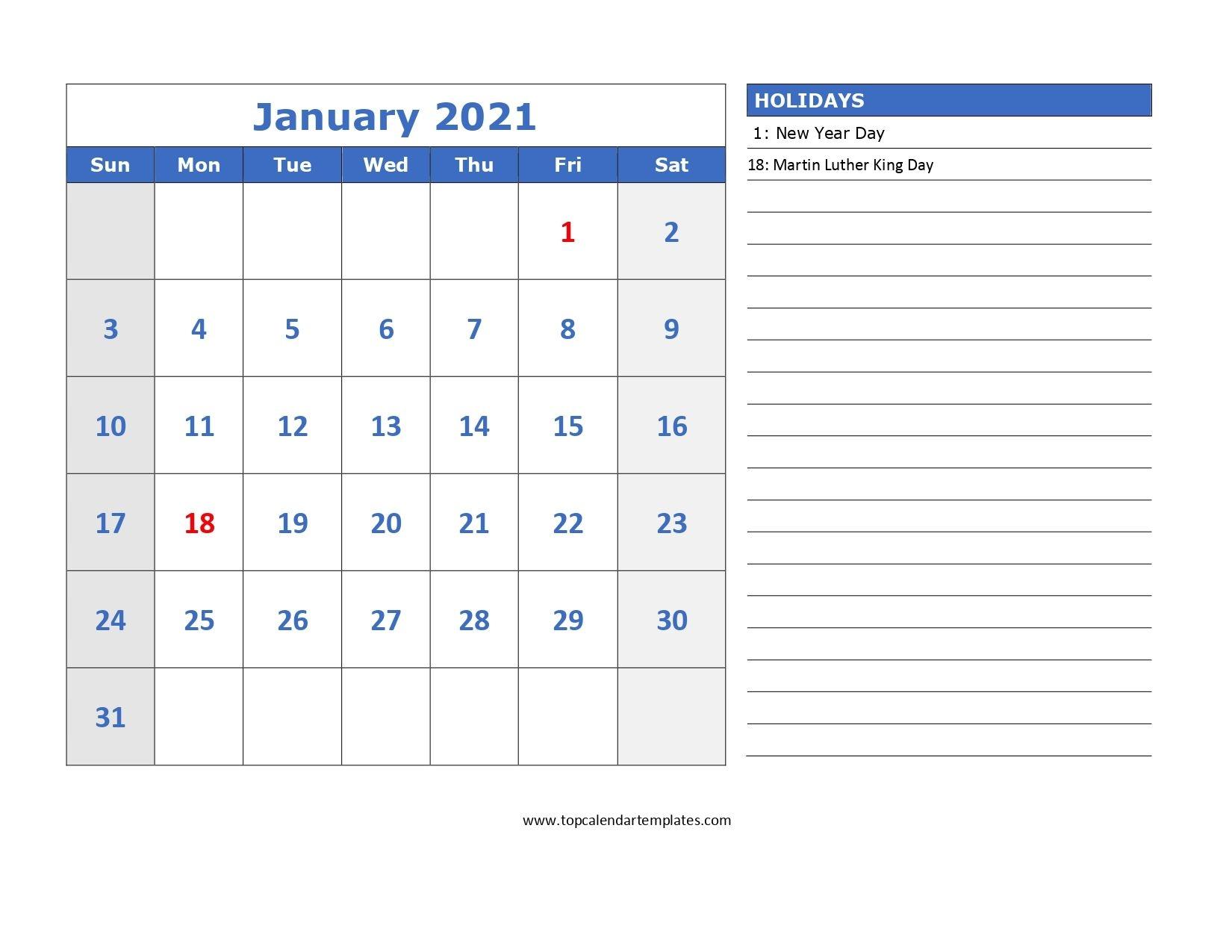 january 2021 printable calendar editable templates