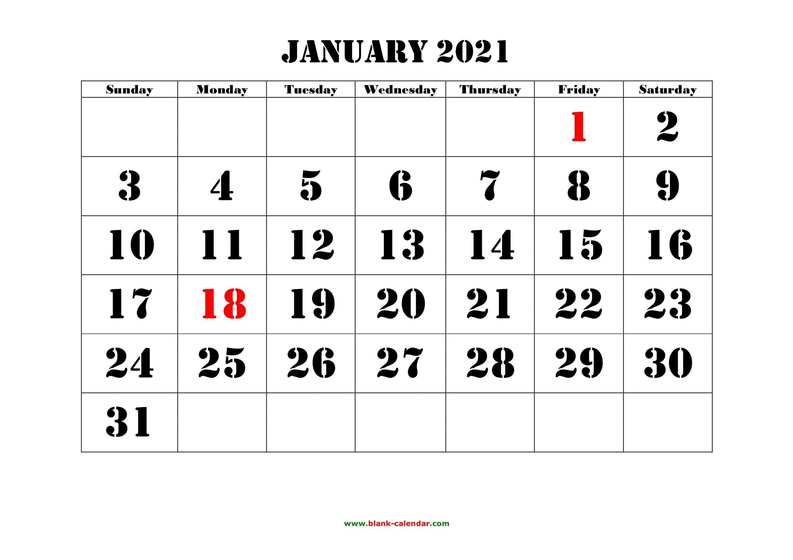 January 2021 Printable Calendar | Free Download Monthly