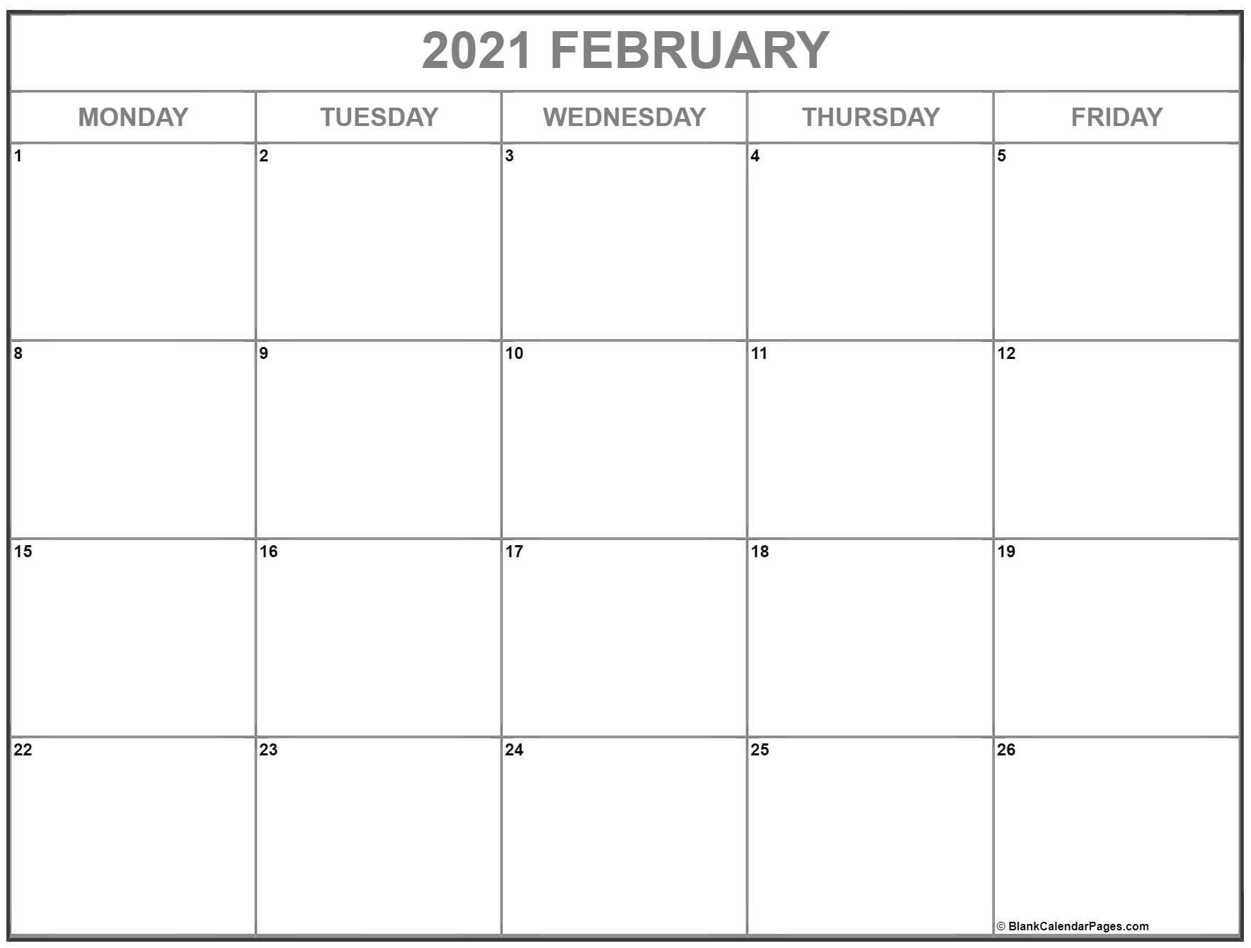 January February 2021 Calendar Monday To Friday In 2021