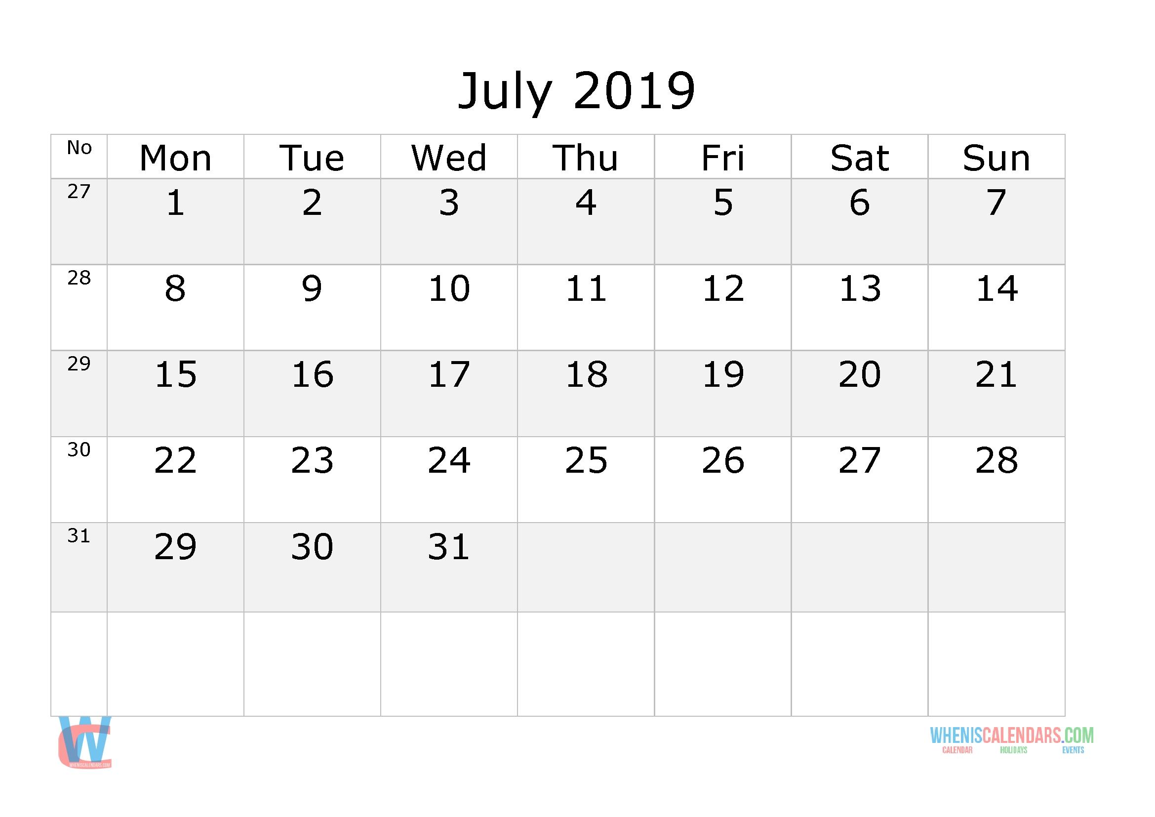 july 2019 calendar with week numbers printable, start