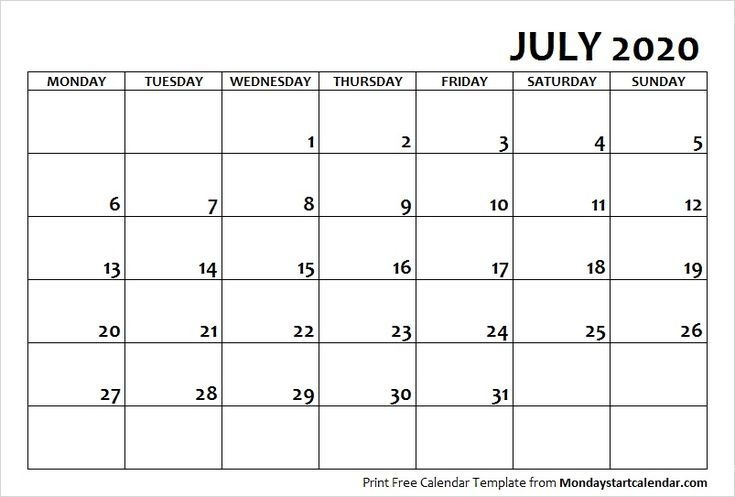 July 2020 Calendar Monday Start | July Month Template