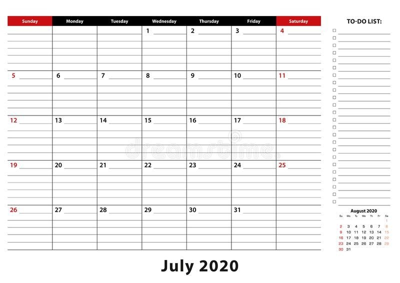 july 2020 monthly desk pad calendar week starts from