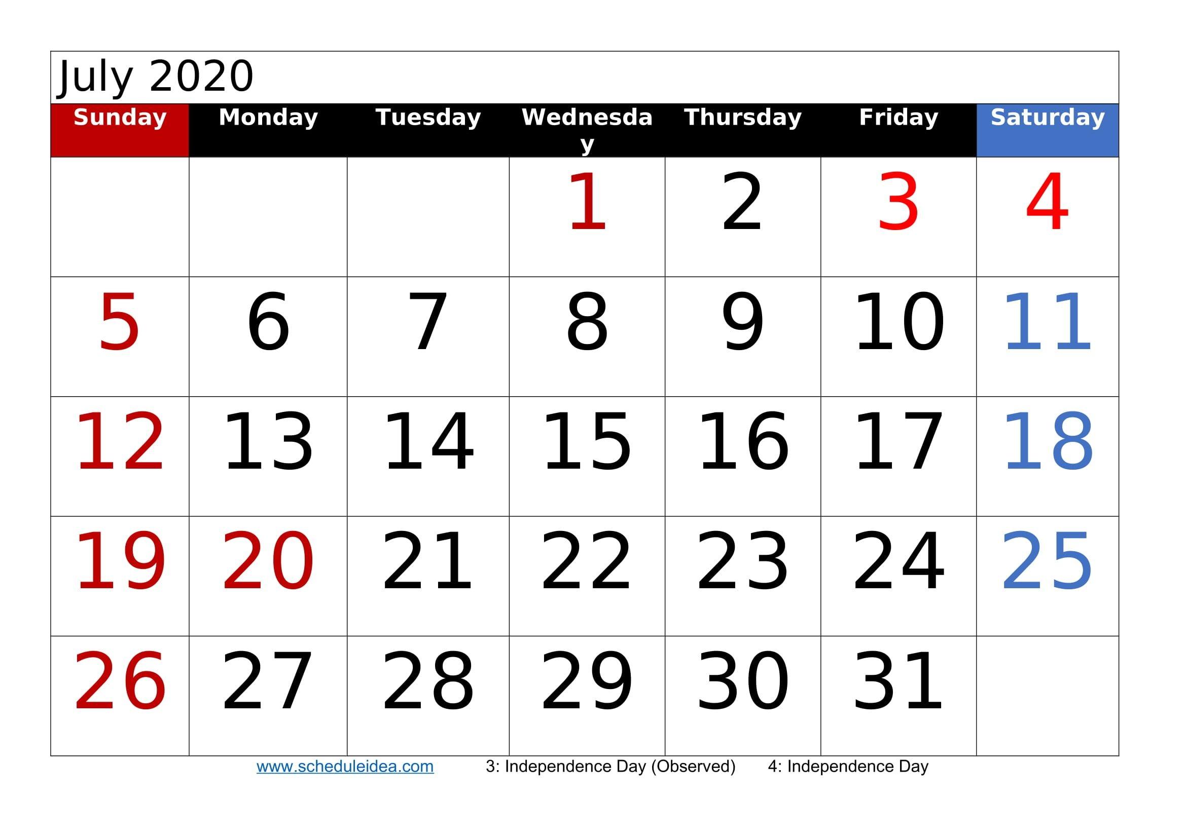 july 2020 printable calendar templates (pdf, word, excel)