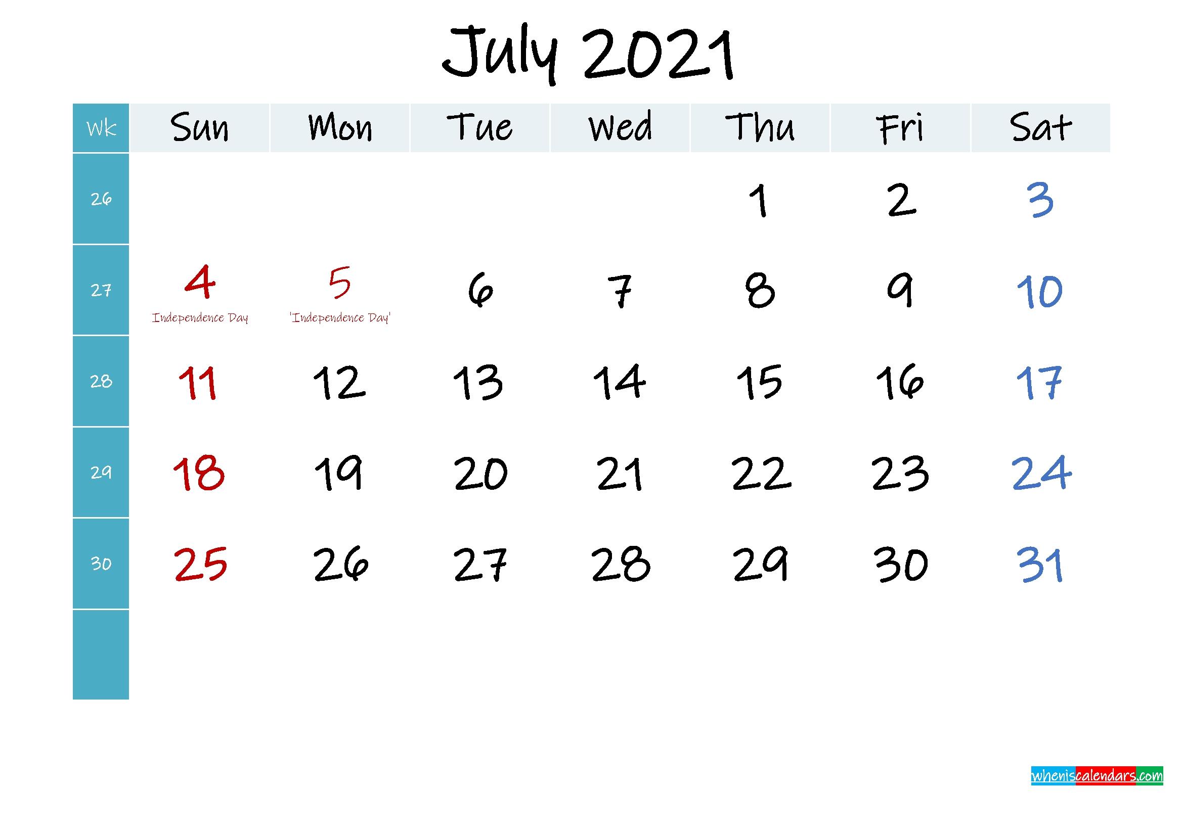 July 2021 Free Printable Calendar Template No Ink21m403