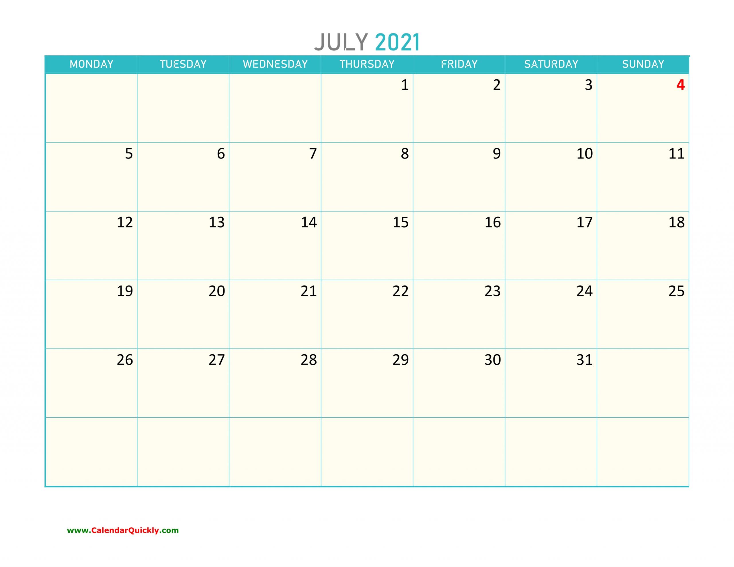 July Monday 2021 Calendar Printable | Calendar Quickly