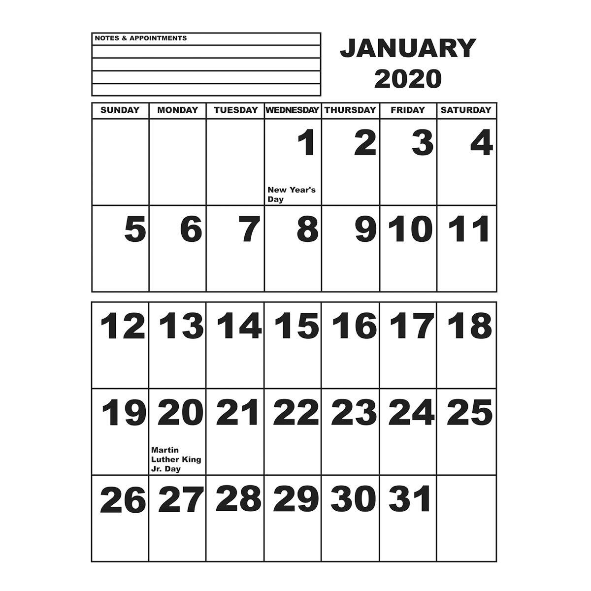 jumbo print calendar 2020   low vision awareness month