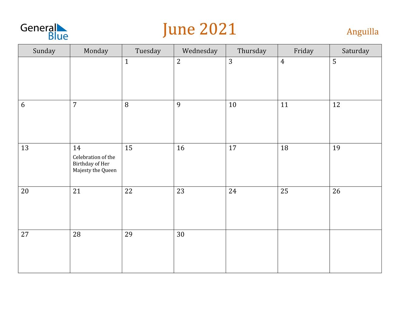 June 2021 Calendar Anguilla